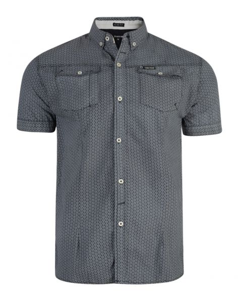 Firetrap Gorst Pattern Shirt Short Sleeve Nine Iron | Jean Scene