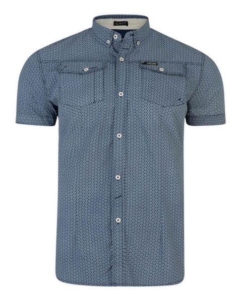 Firetrap Gorst Pattern Shirt Short Sleeve Navy Blue | Jean Scene
