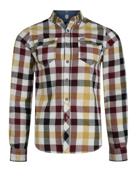 Lee Cooper Men's Long Sleeve Check Shirt Ecru Beige | Jean Scene