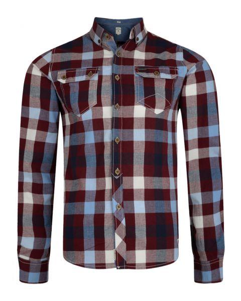 Lee Cooper Men's Long Sleeve Check Shirt Truffle | Jean Scene