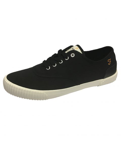 Farah Mens High Canvas Low Blink Shoes Black Shoes   Jean Scene