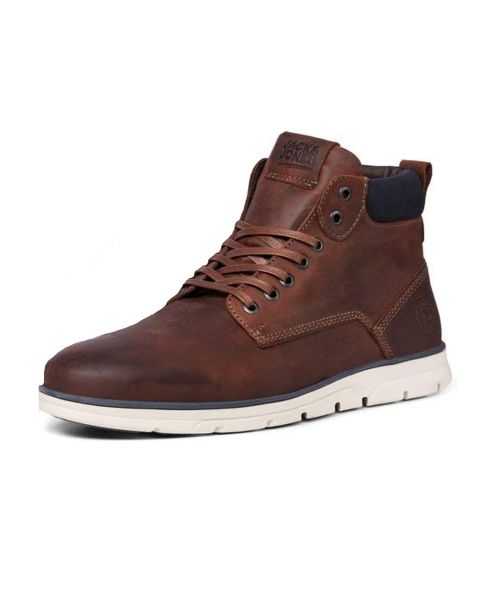 Jack & Jones Tubar Tumble Leather Boots Brown