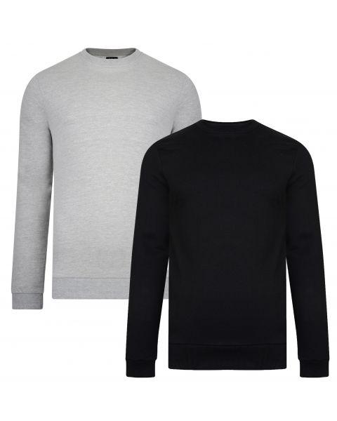 Smith & Jones Men's Juke Crew Neck Sweatshirt 2 Pack Black/Light Grey Marl | Jean Scene
