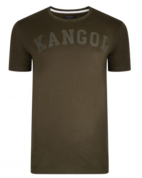 Kangol Study Crew Neck Cotton Plain T-shirt Khaki | Jean Scene