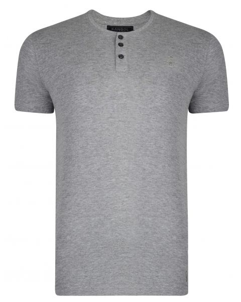 Kangol Henley Crew Neck Cotton Plain T-shirt Grey Marl | Jean Scene