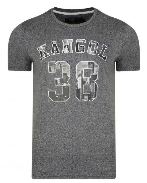 Kangol Rocka Crew Neck Cotton Logo T-shirt Charcoal | Jean Scene