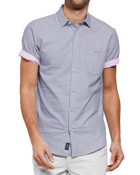Threadbare Chester Plain Pattern Shirt Short Sleeve Denim Blue   Jean Scene