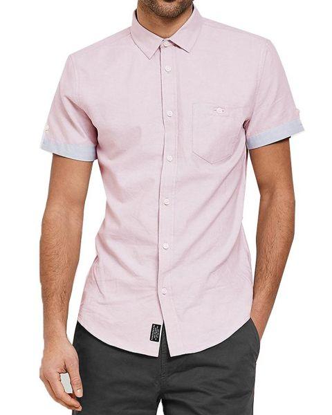 Threadbare Chester Plain Pattern Shirt Short Sleeve Oxford Pink   Jean Scene
