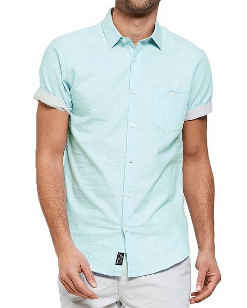 Threadbare Chester Plain Pattern Shirt Short Sleeve Turquoise   Jean Scene