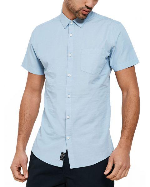Threadbare Simon Print Pattern Shirt Short Sleeve Light Blue   Jean Scene