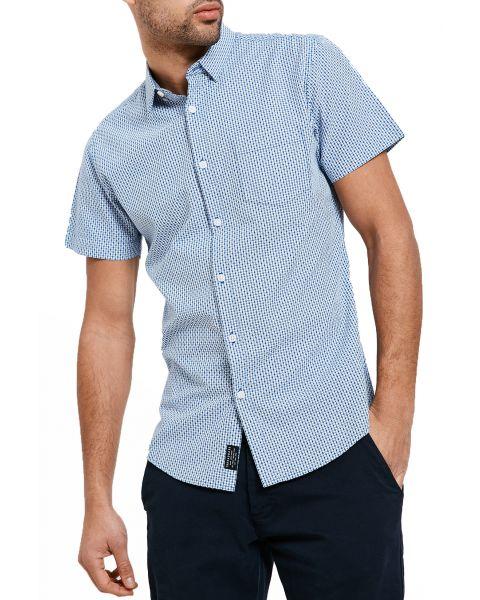 Threadbare Simon Print Pattern Shirt Short Sleeve Mid Blue   Jean Scene