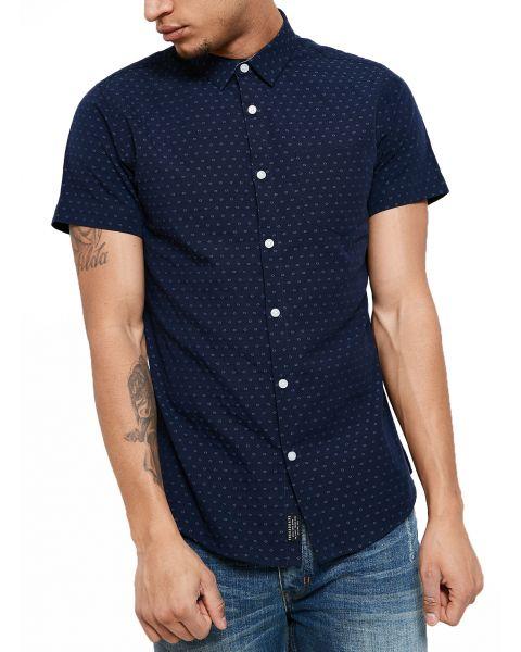 Threadbare Simon Print Pattern Shirt Short Sleeve Navy Blue   Jean Scene