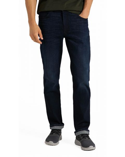 Lee Brooklyn Stretch Regular Dark Tonal Park Blue Denim Jeans | Jean Scene