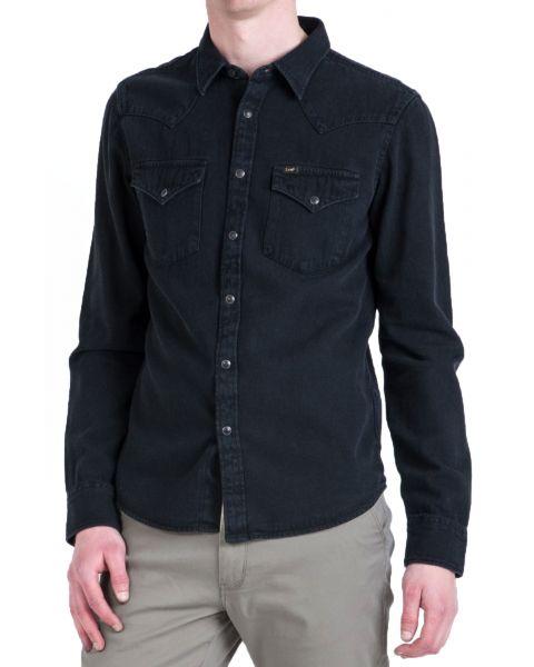 Lee Long Sleeve Western Denim Shirt Black   Jean Scene