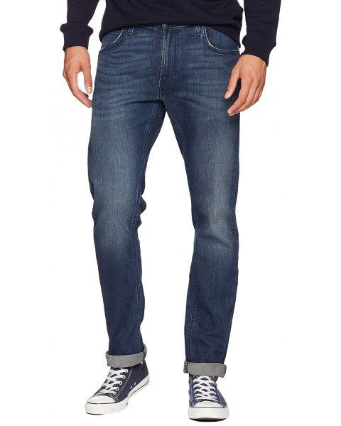Lee Daren Zip Regular Slim Dark Blue Worn Blue Denim Jeans   Jean Scene