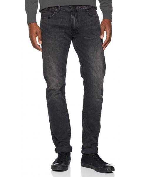 Lee Luke Slim Tapered Faded Black Worn Denim Jeans | Jean Scene