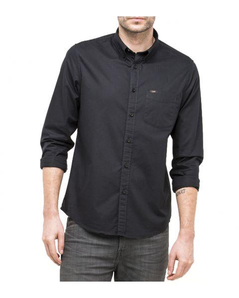 Lee Button Down Plain Shirt Long Sleeve Black   Jean Scene