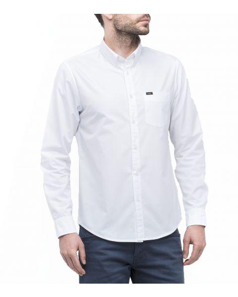Lee Button Down Plain Shirt Long Sleeve White   Jean Scene