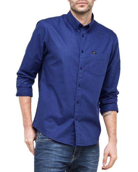 Lee Button Down Plain Shirt Long Sleeve Indigo Flash   Jean Scene