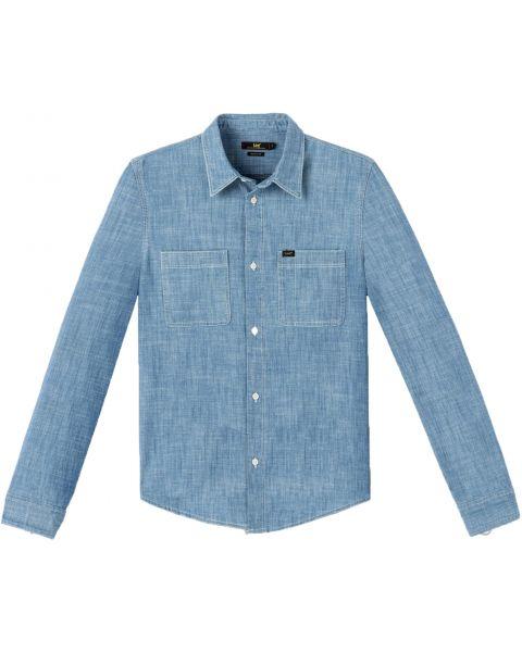 Lee Long Sleeve Button Down Plain Shirt Blue Print | Jean Scene