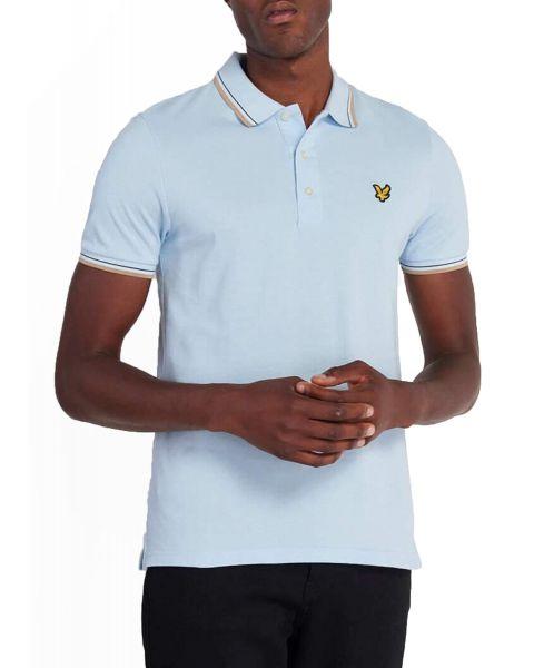 Lyle & Scott Casual Short Sleeve Polo Shirt Pastel Blue/Sand