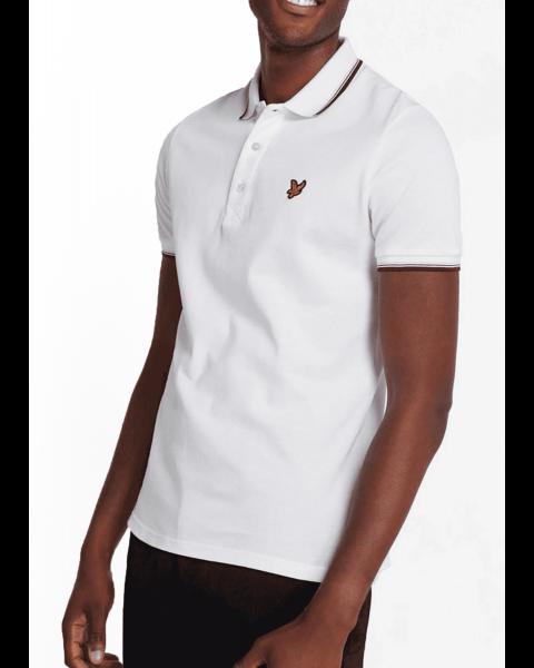 Lyle & Scott Casual Short Sleeve Polo Shirt White/Burgundy