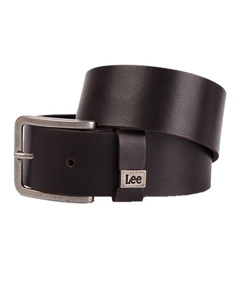 Lee Leather Small Logo Belt Dark Brown