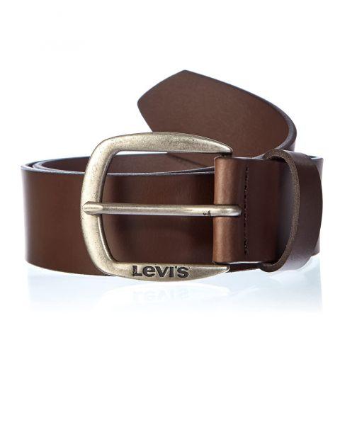Levi's® Andelle Leather Logo Belt Dark Brown