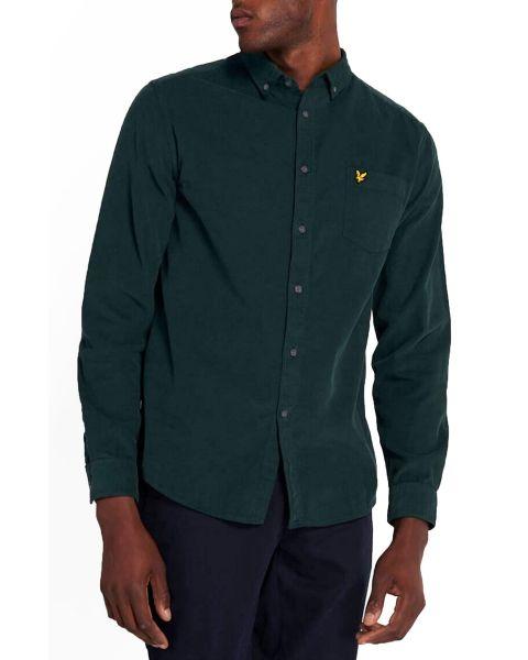 Lyle & Scott Needle Cord Long Sleeve Shirt Jade Green
