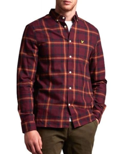 Lyle & Scott Flannel Check Long Sleeve Shirt Burgundy | Jean Scene