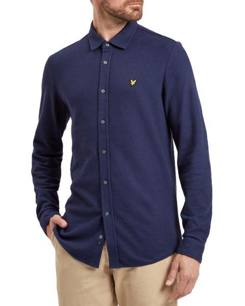 Lyle & Scott Honeycomb Shirt Long Sleeve Navy | Jean Scene