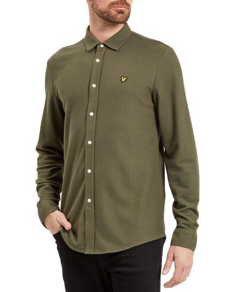 Lyle & Scott Honeycomb Shirt Long Sleeve Olive | Jean Scene