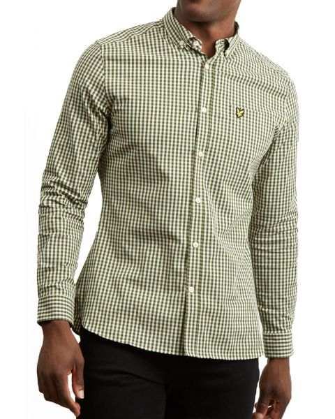 Lyle & Scott Gingham Check Shirt Long Sleeve Woodland Green | Jean Scene