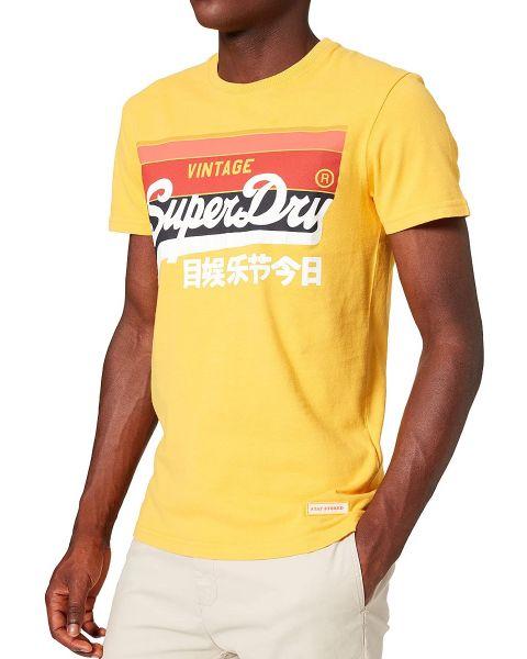 Superdry Vintage Logo Cali Stripe Crew Neck T-Shirt Utah Gold