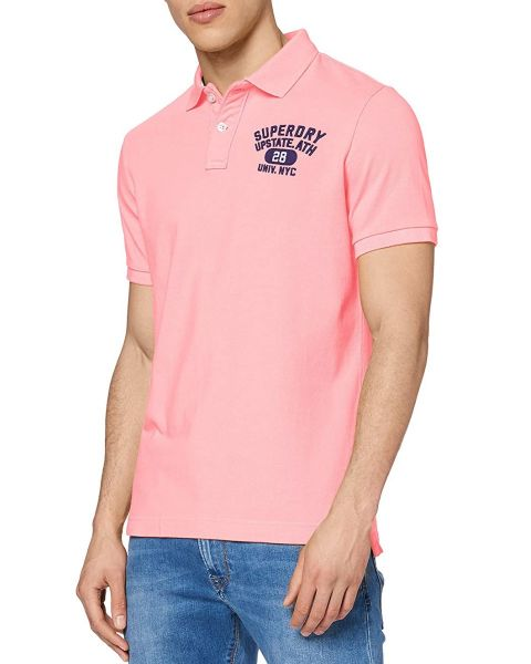 Superdry Classic Superstate Logo Polo Shirt Bright Blast Pink