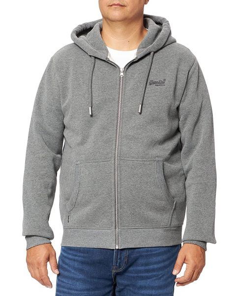 Superdry Vintage Logo Embroided Zip Hooded Sweatshirts Rich Charcoal