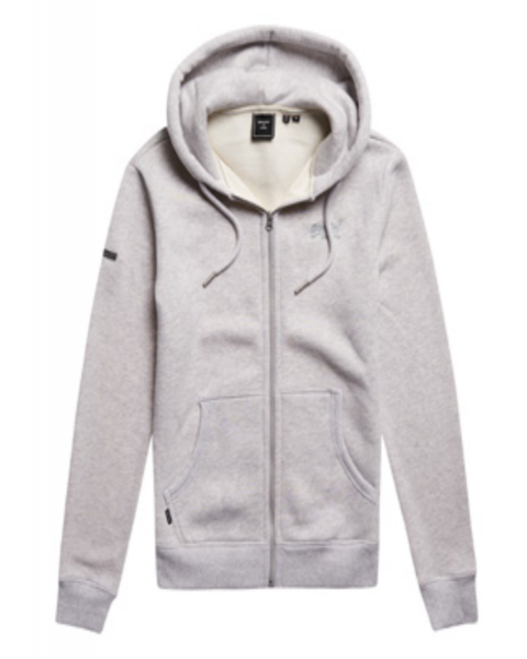 Superdry Vintage Logo Embroided Zip Hooded Sweatshirts Glacier Grey