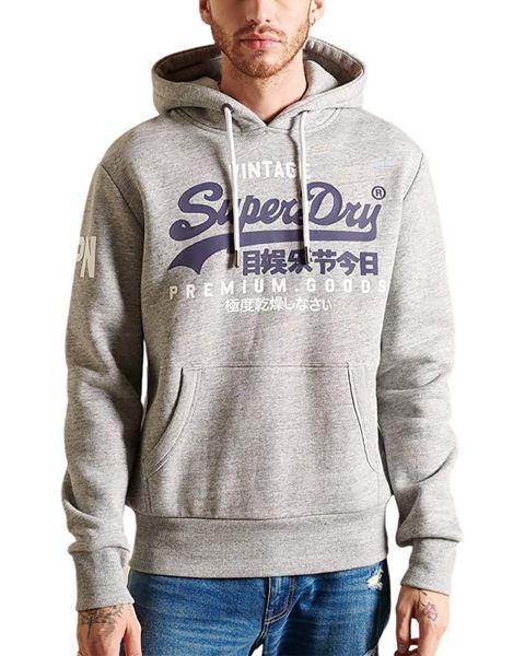 Superdry Vintage Logo Hooded Sweatshirts Grey Marl
