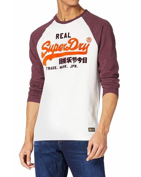 Superdry Vintage Logo Duo Long Sleeve Raglan Top Off White