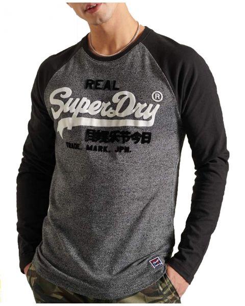 Superdry Vintage Logo Duo Long Sleeve Raglan Top Black Grit