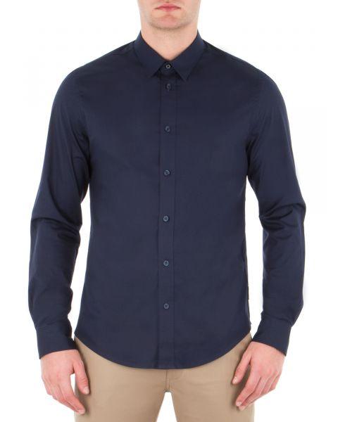 Ben Sherman Stretch Men's Long Sleeve Poplin Shirt Navy Blazer | Jean Scene