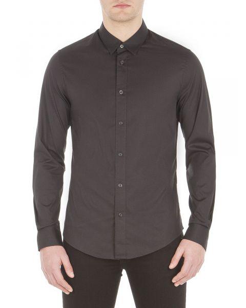 Ben Sherman Stretch Men's Long Sleeve Poplin Shirt True Black | Jean Scene
