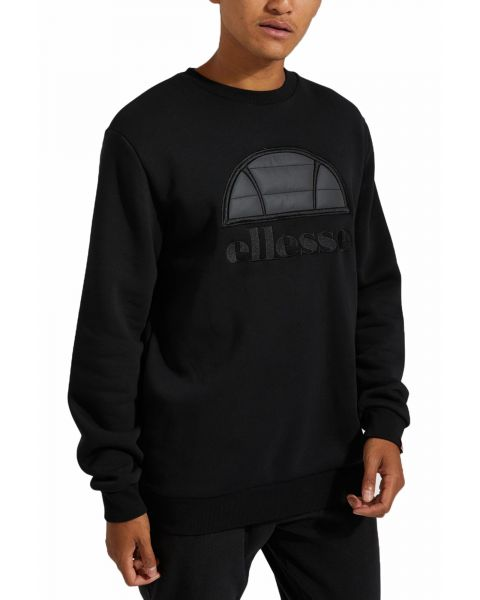Ellesse Men's Manto Logo Crew Neck Sweatshirt Black | Jean Scene