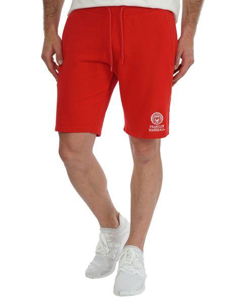 Franklin & Marshall Men's Fleece Logo Jogging Shorts Fire Red   Jean Scene
