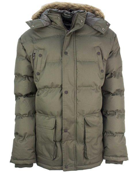 Soul Star Winter Padded Puffer Jacket Olive | Jean Scene