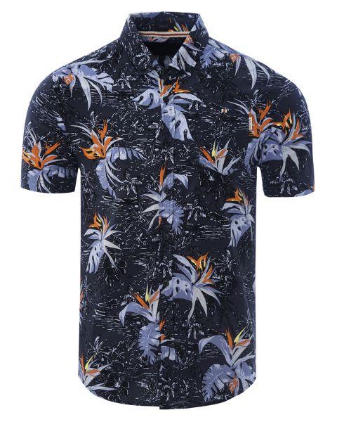 Soulstar Print Hawaiian Bravo Shirt Short Sleeve Black   Jean Scene