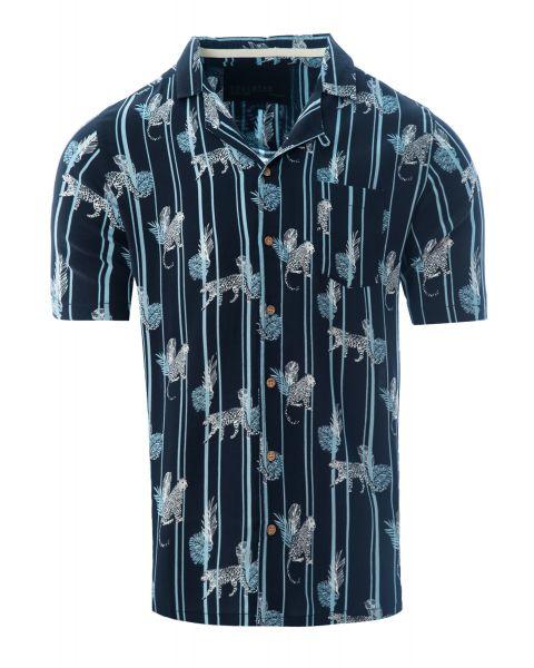 Soulstar Print Hawaiian Object Shirt Short Sleeve Navy   Jean Scene
