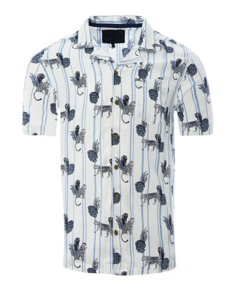 Soulstar Print Hawaiian Object Shirt Short Sleeve White   Jean Scene