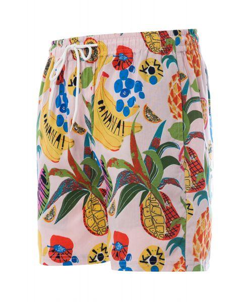 Soulstar Print Hawaiian Cocktail Shorts Light Pink | Jean Scene