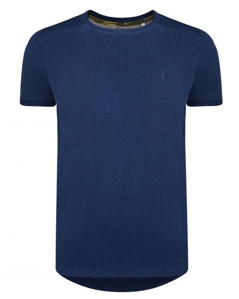 Ringspun Neon Crew Neck Cotton Plain T-shirt Navy | Jean Scene